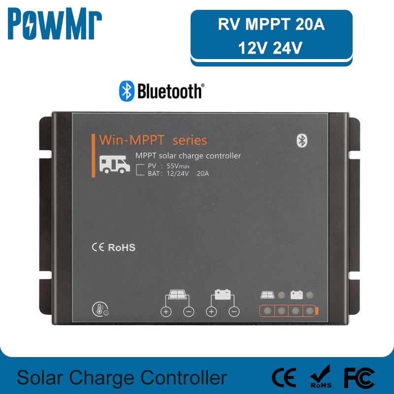 🛍 20A RV MPPT контроллер солнечного заряда 12В 24В автоматический регулятор солнечной панели для литиевых батарей, домов с мотором для Bluetooth