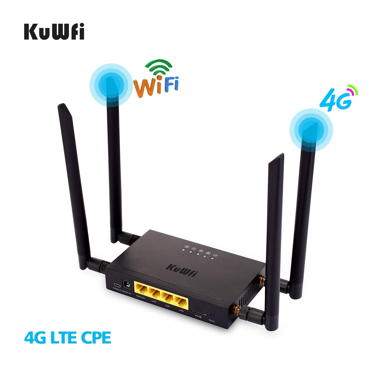 🛍 KuWFi 4G LTE WiFi беспроводной маршрутизатор 300 Мбит/с Cat 4 высокоскоростной Wifi CPE со слотом для sim-карты и 4 шт внешние антенны до 32 пользователей